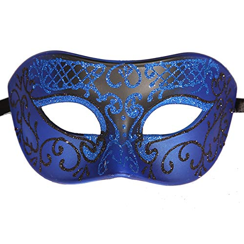 Xvevina Luxury Mask Funny Mens Masquerade Mask Prom Mardi Gras Venetain (Blue/Black)