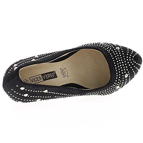 Negro Zapatos de Tacón Alto 8, Rhinestones Agudo 5cm