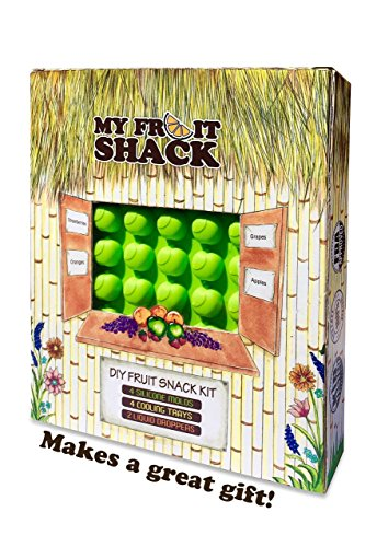 51PFza702zL - My Fruit Shack DIY Fruit Snacks Kit - 4 BPA-Free LFGB/FDA Grade Silicone Molds (Makes 184 Gummies Total), 4 Plastic Trays, 2 Droppers and 1 Basic Recipe Page