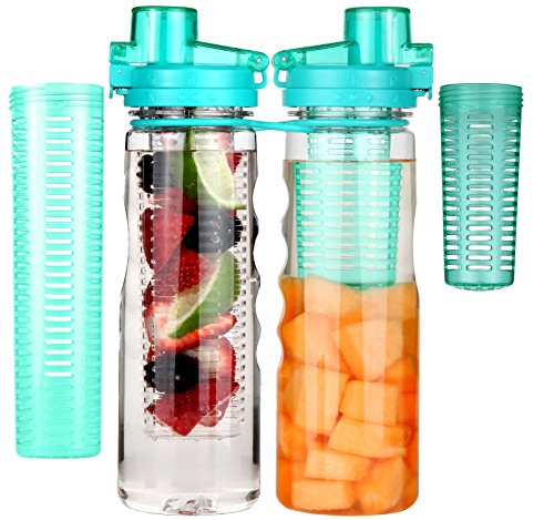 Great Gear Fruit Infuser Water Bottle 25 oz Leak Proof Flip-top Sport Water Bottle BPA-Free Tritan 25 Oz (Turquoise)