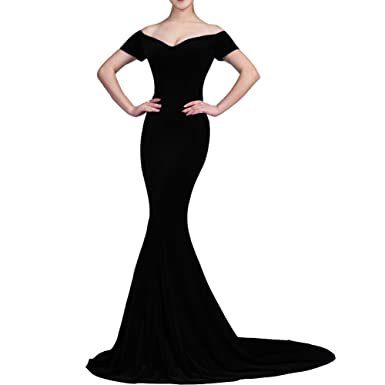 Lemai Mermaid Off Shoulder V Neck Long Velvet Prom Evening Dresses Black US 2