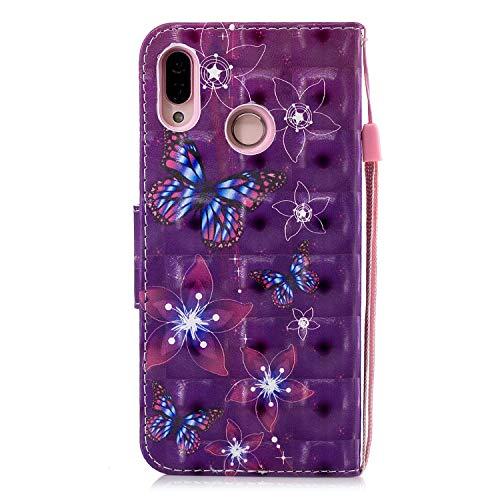 Lite Huawei Support En P20 Coque papillon Cuir Hx rose Noire Etui Housse Violet Portefeuille Avec Bonroy Case Fonction Pour Protection Pu Stand hx 5ZxpqXtWzw