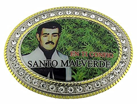 Letter Love Fashion Malverde Sinaloa Narco-Saint Hebilla Gift Golden Rhinestones Men'S New Belt (Hebillas De Rodeo)