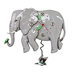 Allen Designs Elephante Whimsical Elephant Pendulum Wall Clock