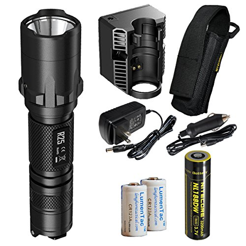Nitecore R25 800 Lumens Rechargeable LED Tactical Police Flashlight - Including Rechargeable Battery, Charging Dock, Adapter, Holster and 2X LumenTac CR123A