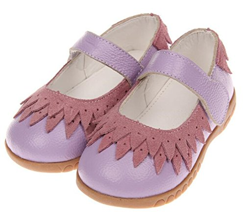 Bumud Little Girl's Genuine Leather Round Toe Princess Dress Mary Jane Flat Shoes (8 M US Toddler, Purple) by Bumud (Image #2)