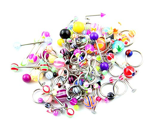 Lot of 90 Mixed Assorted Ball Tongue Eyebrow Labret Navel Belly Nipple Ring Barbell Button Wholesale -