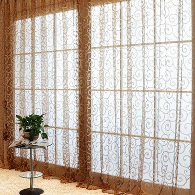 Solid Sweet Floral Tulle Voile Door Window Curtains Black - 8