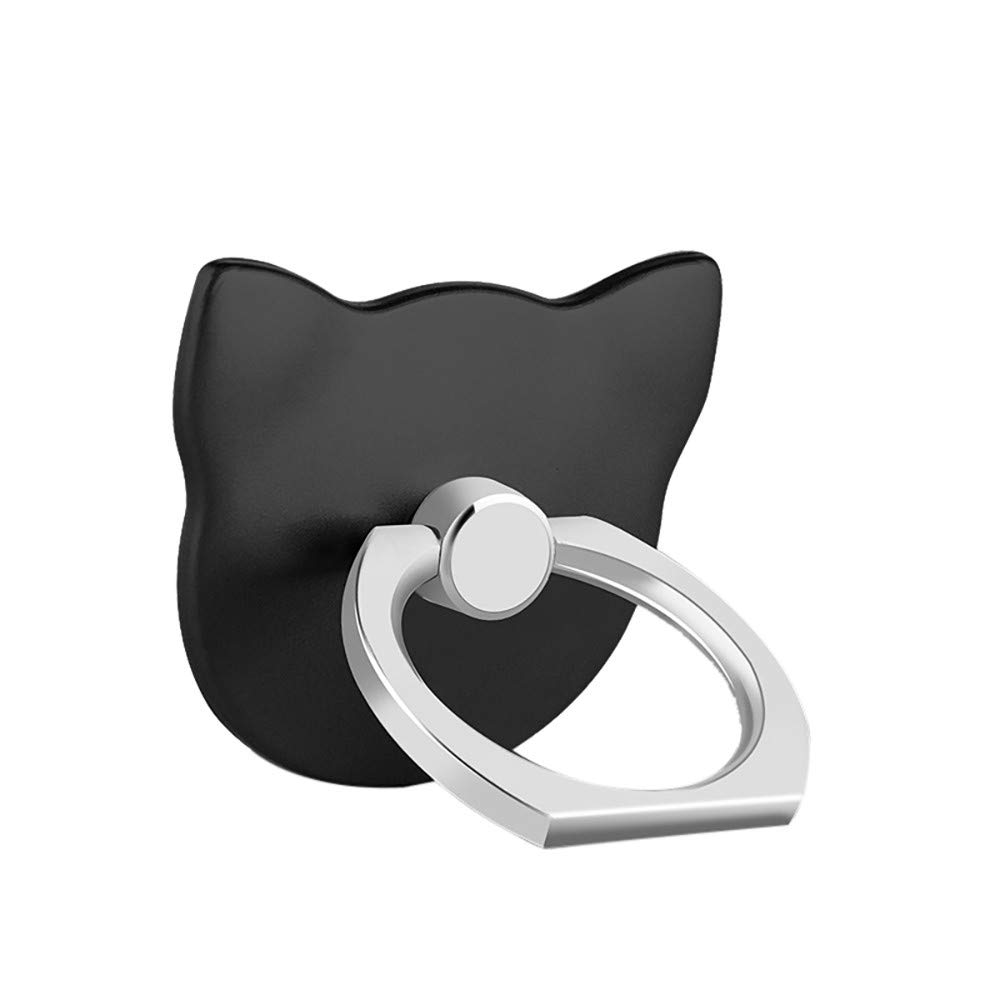 Lljin 2 Pcs Metal Ring Stand Universal Applied Mobile Phone Stand 360 Degree Rotate (Black)