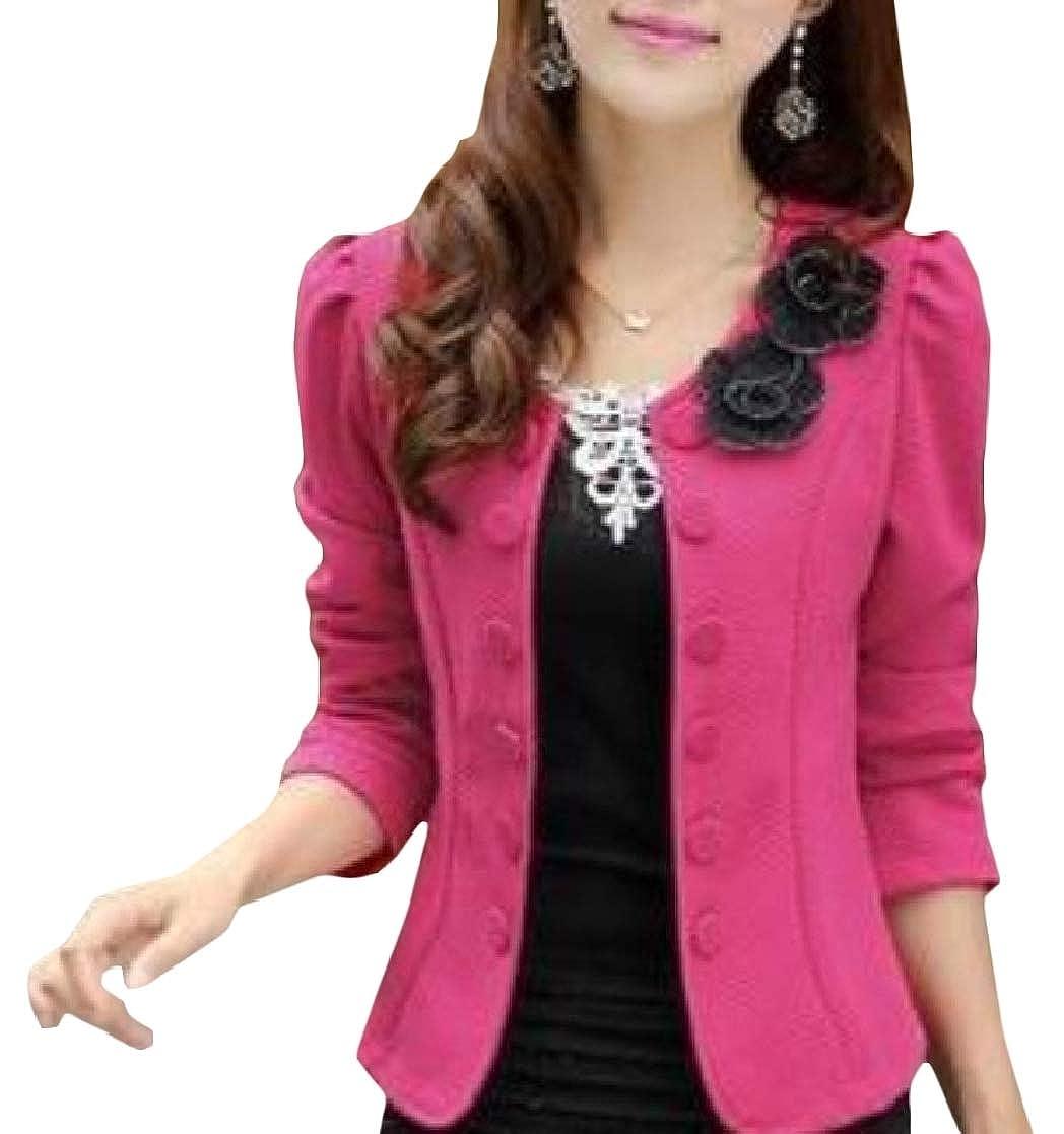 YUNY Women Slim Short Double-Breasted Long-Sleeve Oversized Blazer Outwear Rose Red S