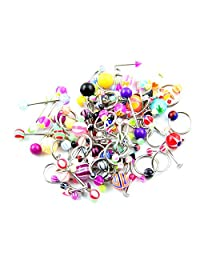 BODYA 16G and 14G Body Piercing Kit lot 90 Pieces Mixed Body Jewelry Tongue Tragus Ear Eyebrow Nipple belly Lip ring barbell