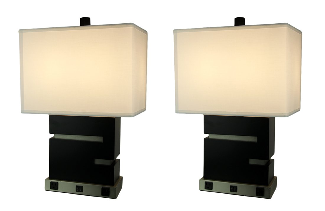 Black Contemporary Wood Table Lamp With Power Outlets Set Of 2