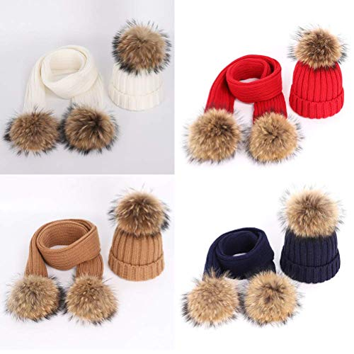 New Fashion Children's Knit Beanie Hat Scarf 2 Pieces Set Winter Warm Boy Girl Raccoon Fur Pom poms Soft Cap Scarves Kids - Hat Beanie Choppers