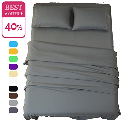 Price comparison product image Shilucheng Twin XL Bed Sheets Set - 3 Piece Dark Grey - Brushed Microfiber 1800 Threads 16-Inch Deep Pocket Soft Hypoallergenic Easy Care by