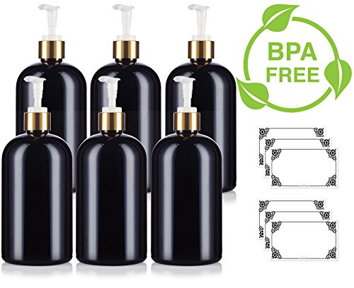 Black 16 oz Large Boston Round PET Bottle (BPA Free) with Gold Lotion Pump (6 pack) + Labels ()