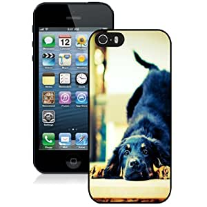 New Personalized Custom Designed For iPhone 5s Phone Case For Black Dog Stretching Phone Case Cover