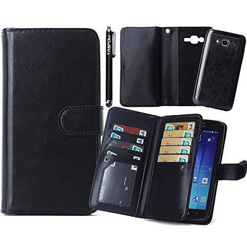 J7 Case, Galaxy J7 Case, TabPow 9 Card Slot Series - Wallet Folio PU Leather Case Cover With Detachable Magnetic Hard Case For Samsung Galaxy J7, Black