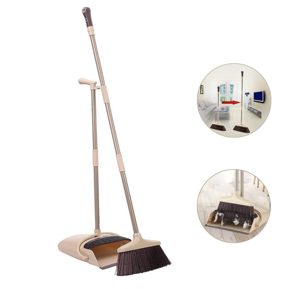 Long Handle Broom and Dustpan Set, 48'' Lobby Broom and Upright Dustpan with Teeth, Extendable Broom and Windproof Dustpan Grips Combo Set for Sweeping Home, Garage and Office