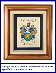 McEwan Family Coats of Arms Hand Painted Parchment Paper Matted and Framed