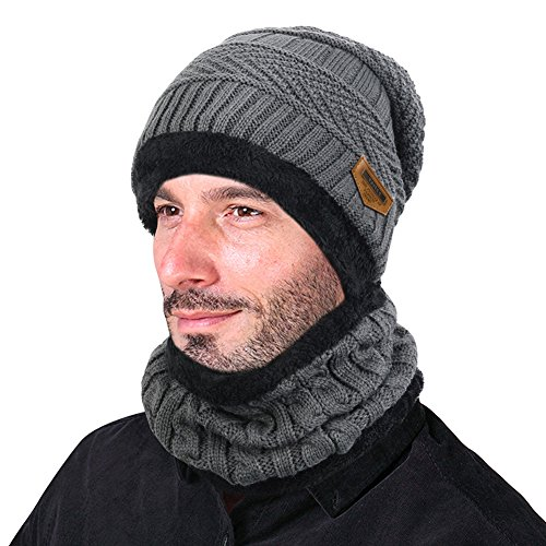 VBIGER Beanie Hat Scarf Set Knit Hat Warm Thick Winter Hat For Men (Grey) (Best Winter Hats 2019)
