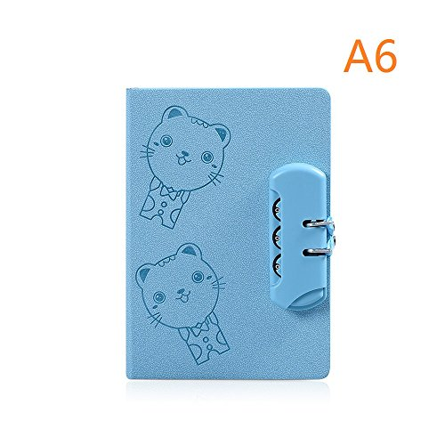 A6 Password Journal Notebook, Combination Lock Diary Notebook, Cute Cartoon Cat (Blue) (Lock And Diary Key Boys)