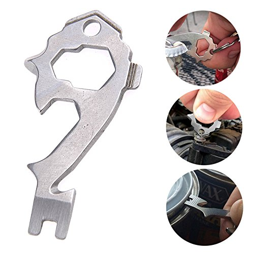 WEKA 20-in-1 Key-Size EDC Universal Stainless Steel Multi-Tool Keytool Keychain Pocket Box Opener Wrench Everyday Carry Pocket