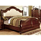 Furniture of America Selene Traditional Sleigh Bed, Brown Cherry, Queen
