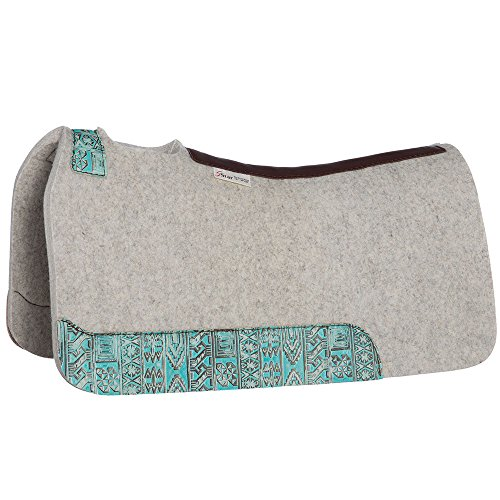 (NRS 5 Star Equine 5 Star 7/8 Felt Barrel Pad with Turq Indiano Wear Leathers 30X28 Natural)