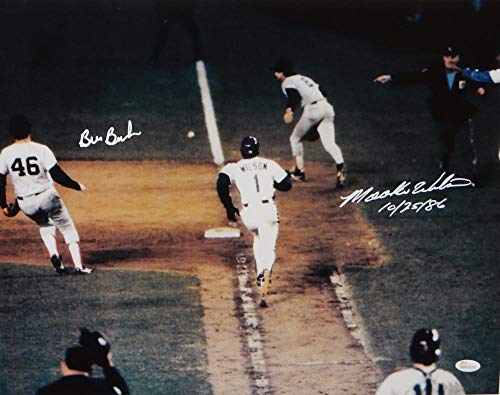 Mookie Wilson Bill Buckner Autographed 16x20 1986 World Series 10/25/86- JSA W Auth White