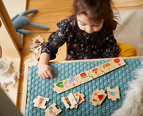 Highlights by HABA Alphabet Puzzle - 26 Interchangeable Wooden Pieces with Uppercase Letter and Matching Picture on Each Piece ()