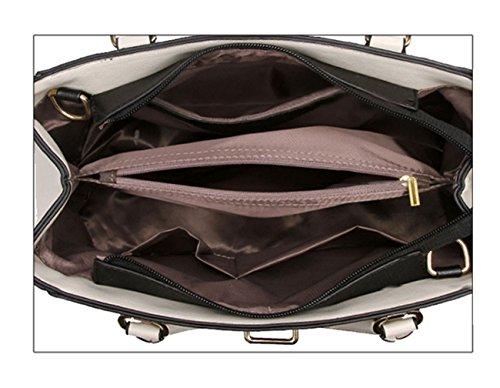 Tibes Elegante bolso de piel de imitación mango superior 4pcs set Satchel Bolso Beige B Rosa Rosa