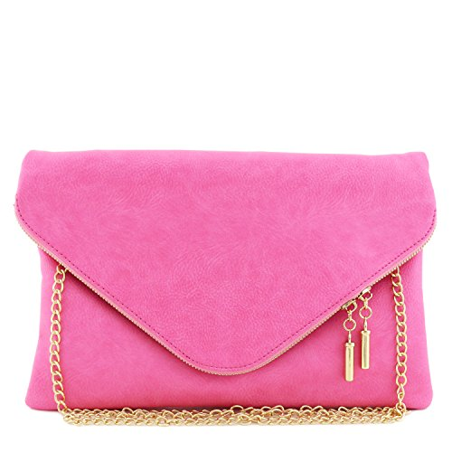 Large Envelope Clutch Bag with Chain Strap Pink ()