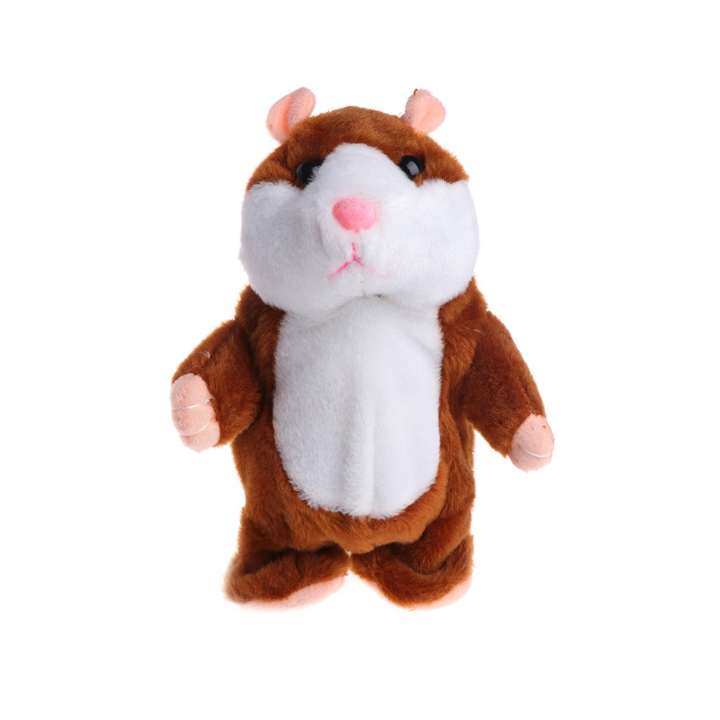 Dabixx Hamster Plush Toy, Talking and Walking Hamster Sound Record Plush Toys Stuffed Speak Pet Gift - Light Brown