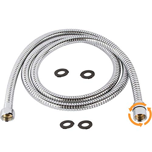 TRIPHIL Kink-free Shower Hoses Extra-long for Handheld Showerhead Hose Replacement Ultra-flexible Metal Shower Tube Extension Anti-twist 2 Brass Connectors Stainless Steel Sleeve Chrome 79 Inches