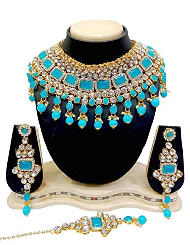 CROWN JEWEL Indian Bridal Fashion Jewelry Wedding Gold Tone Necklace Earring Set (Turquoise)