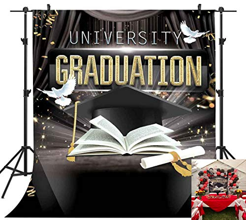PHMOJEN 5x7ft University Graduation Gold and Black Photography Backdrop for College Students Trencher Cap Certificate Dove Ribbons Background Poster Vinyl Photo Studio Props LXPH442 (List Of All Black Colleges And Universities)