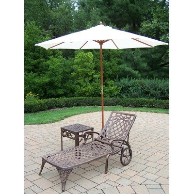 Oakland Living Mississippi Cast Aluminum 1 Cushioned Chaise Lounge with 18-Inch Side Table Plus 9-Feet White Umbrella and Stand