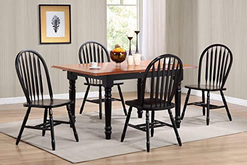 Sunset Trading 5 Piece Butterfly Leaf Dining Table Set with Arrowback Chairs, Antique Black/Cherry