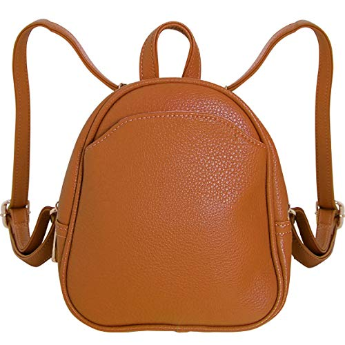 Tan Womens Leather Mini (Humble Chic Mini Vegan Leather Backpack - Convertible Shoulder Purse Handbag Tiny Crossbody Bag, Saddle Brown, Camel, Tan, Cognac, Walnut)