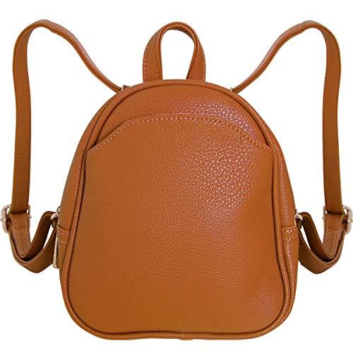Humble Chic Mini Vegan Leather Backpack - Convertible Shoulder Purse Handbag Tiny Crossbody Bag, Saddle Brown, Camel, Tan, Cognac, Walnut