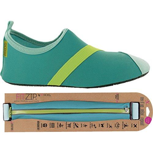 Fitkicks Zapatos Para Mujer Con Paquete De Cintura Fitzip, Turquesa / Verde Zapato Turquesa