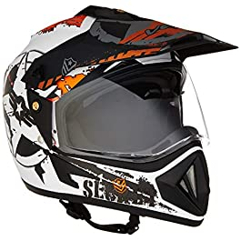 Off Road D/V Secret Dull White Black Helmet-M