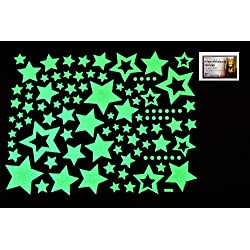 PertidStar Glow In The Dark Stars Wall Stickers Star Sky for Starry Sky, Perfect For Kids Bedding Room or Birthday Gift ,Beautiful Wall Ceiling Decals Perfect For Baby Nursery Bedroom Decor,Set 03