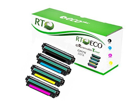 Renewable Toner Compatible Color Set Replacement for HP 507A CE400X CE401A CE402A CE403A (Cyan, Magenta, Yellow, Black, 4-Pack) ()