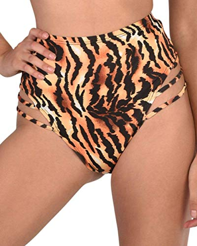 iHeartRaves Kurious Kitty Strappy Tiger Print High Waisted Bottoms (Black, ()
