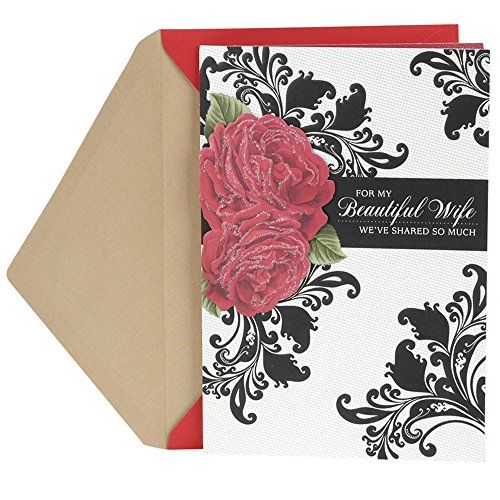 Hallmark Mahogany Valentine's Day Greeting Card for Wife (Roses with Floral Pattern)