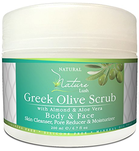 Best Natural & Organic Greek Body Scrub - Almond, Olive Grains & Aloe Vera - Exfoliating Skin, Pore Reducer & Cleanser. Detoxifying, Hydrating & Ultra Moisturizing Formula 6.7oz