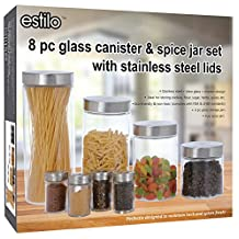 Estilo EST2821 8 Piece Glass Canisters & Spice Jar Set with Stainless Steel Screw On Lids, Clear
