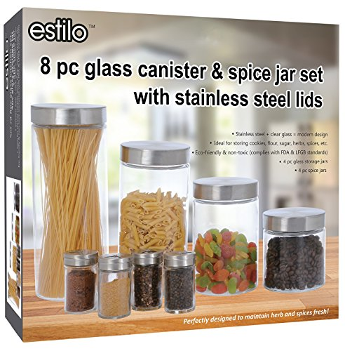 Storage Canister Set (Estilo 8 Piece Glass Canisters And Spice Jar Set with Stainless Steel Screw On Lids, Clear)