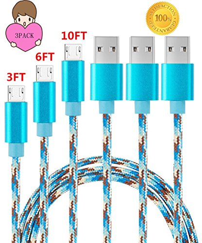 Sogola Micro USB Cable, Nylon Braid High Speed 2.0 USB to Micro USB Charging Cables Android Fast Charger Cord for Samsung Galaxy S7 Edge/S6/S5/S4,Note 5/4,HTC,LG,Tablet (Camo Blue 3PACK(3FT+6FT+10FT))
